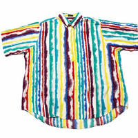 Vintage 90s Colorful Striped 1/4 Button Down Shirt Mens Size XL