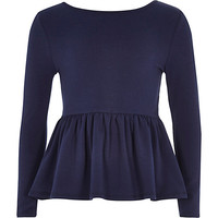 River Island Girls navy peplum top