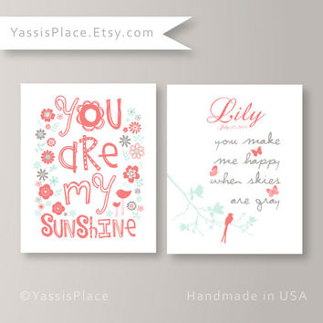 Coral Girl Nursery Decor Coral Mint Gray Baby Birth Announcement baby girl Floral art Set of 2 -UNFRAMED Prints  by YassisPlace (GSBSC-01)