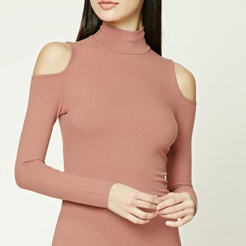 Open-Shoulder Turtleneck Top