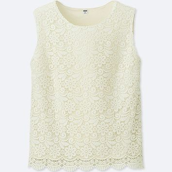 WOMEN LACE SLEEVELESS T-SHIRT
