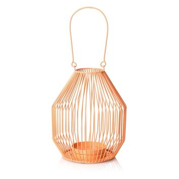 Coral Bulb Wire Pillar Candle Lantern - All - Oliver Bonas