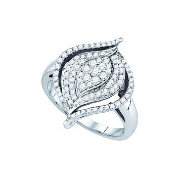 10kt White Gold Womens Round Diamond Wide Cocktail Cluster Ring 3/4 Cttw