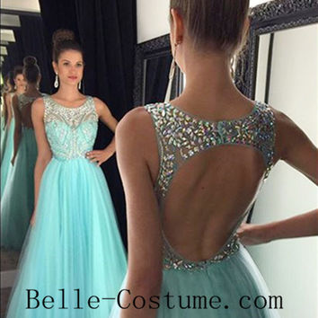 A Line Illusion Prom Dresses, Backless Prom Dresses, Backless Beading Evening Dresses