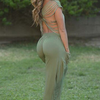 Green Cap Sleeve Strappy Back Jumpsuit