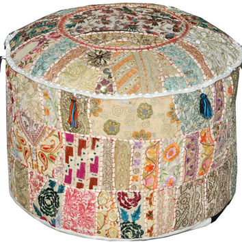 White Bohemian Vintage Patchwork Indian Pouf Large Round Ottoman Seat Stool Embroidered Pouffe round cotton stool chair bench foot stool