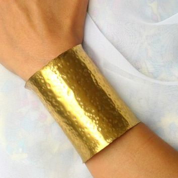 Super Wide Wonder Woman Brass Cuff, Artisan Crafted Gold Cuff