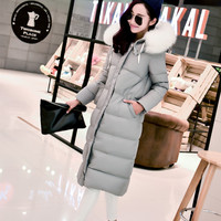 2017 fashion long large fur collar duck down parka coat women new style lengthen thickening plus size swan down jacket snow wear