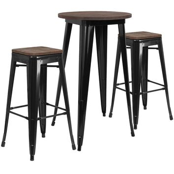"24"" Round Metal Bar Table Set with Wood Top and 2 Backless Stools"