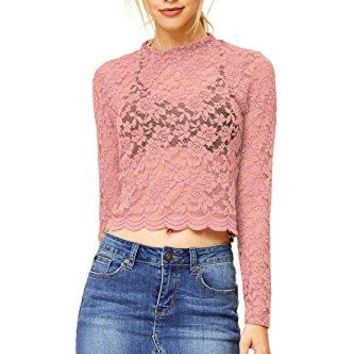 Ambiance Womens Juniors Cropped Lace Long Sleeve Top