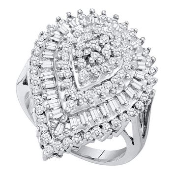 10kt White Gold Women's Round Baguette Diamond Teardrop Cluster Ring 1.00 Cttw - FREE Shipping (US/CAN)