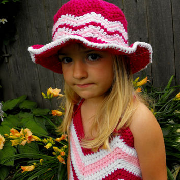 Chevron Sun Hat - Crochet Pattern, toque, childs hat, spring hat, basic sun hat, Newsboy hat , Visor hat, sun shade sunshade toddler brimmed