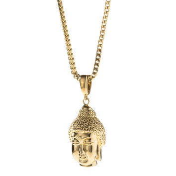 Gold Buddha Face Pendant Necklace