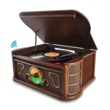 Bluetooth Classic Vintage Style Turntable Speaker System, Vinyl-to-MP3 Recording, CD Player, MP3/USB/SD Readers, AM/FM Radio
