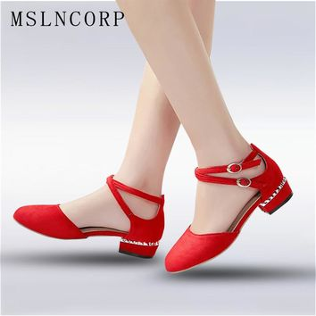 plus size 34-45 New Fashion Spring Summer Women Ankle Strap Sandals Square Heel Round Toe Sweet Flats Gladiator Ladies Shoes