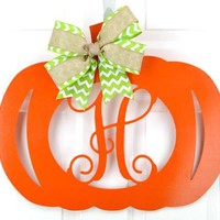 Pumpkin Wood Initial Door Hanger