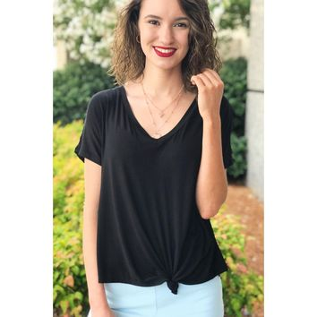 Black V-Neck Knot Top