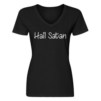 Womens Hail Satan V-Neck T-shirt