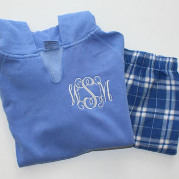 Monogrammed Pajama Set Blue Plaid Flannel Pants with Comfort Color Flo Blue Hoodie Christmas Gift Set