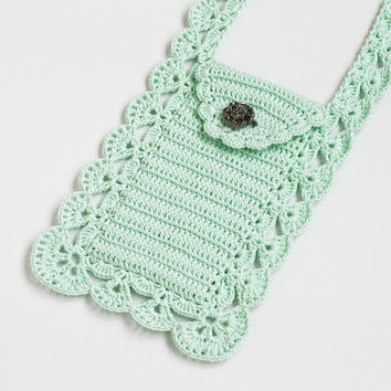Mint crossbody phone purse Boho chic Cell phone pouch Smartphone bag Wallet Case Cover Crochet lace Gift for mom, grandma
