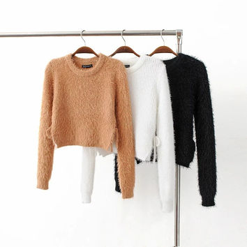 Fuzzy Slight Cropped Sweater