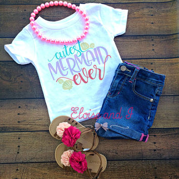 mermaid baby outfit, mermaid toddler shirt, newborn outfit, mermaid baby shower gift, baby girl coming home outfit, cutest mermaid ever