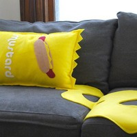Mustard  Pillow and Spill Perfect for by diffractionfiber on Etsy