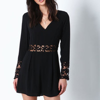 BLACK DAISY BLOOM CROCHET ROMPER