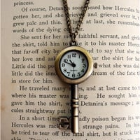 Antiqued Skeleton Key Pocket Watch Necklace by sodalex on Etsy