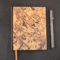 Beautiful Handmade Journal with Marbled Leather Cover