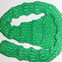 Green knit scarf, luminous acrylic hand knit scarf with reflective thread, UK shop