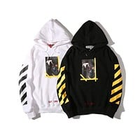 OFF-WHITE Religious Madonna Angels Printing Hoodie Sweater M--XXL