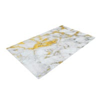 "KESS Original ""Gold Flake"" Marble Metal Woven Area Rug"