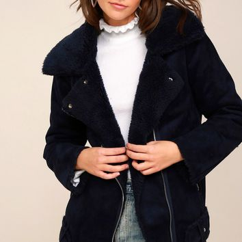 Mount Rainier Navy Blue Suede Sherpa Coat