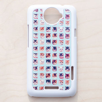 Cat Print HTC One X Case New Cell Phone Pattern Animal Aqua Blue