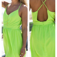 Tropicana Lime Green Spaghetti Strap Sundress