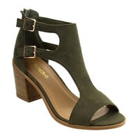 Women Buckle Ankle Strap Stacked Block Heel Sandals