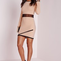 Missguided - Long Sleeve Ponte Contrast Bodyon Dress Nude/Black