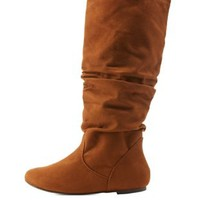 Tan Slouchy Knee-High Flat Boots by Charlotte Russe