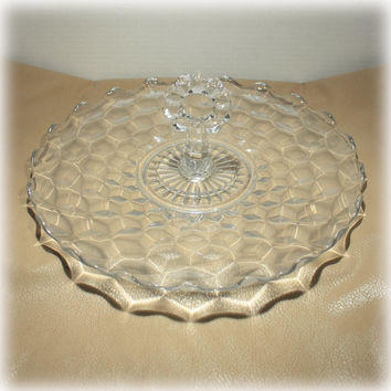 Fostoria Glass American Pattern Center Handle Tidbit Plate Tray 1930s 1940s