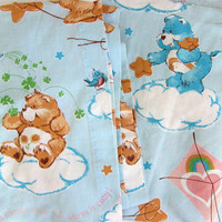 Vintage Set of Care Bear Curtains / pair of children's curtains / long blue drapes