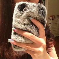 Bling Crystal Rhinestone Design Fluffy Soft Genuine Rabbit Fur Winter Warm Case for iPhone 7 se 5s 6 6s Plus +Bift box