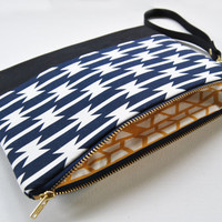 Aztec print clutch, wristlet, tribal, navajo, geometric in navy blue, black leather, mustard yellow, and gold, small handbag
