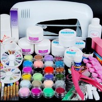 Quality-perfect New 9w Uv White Dryer Lamp 24 Color Acrylic Powder Nail Art Kit Gel Tools Professional