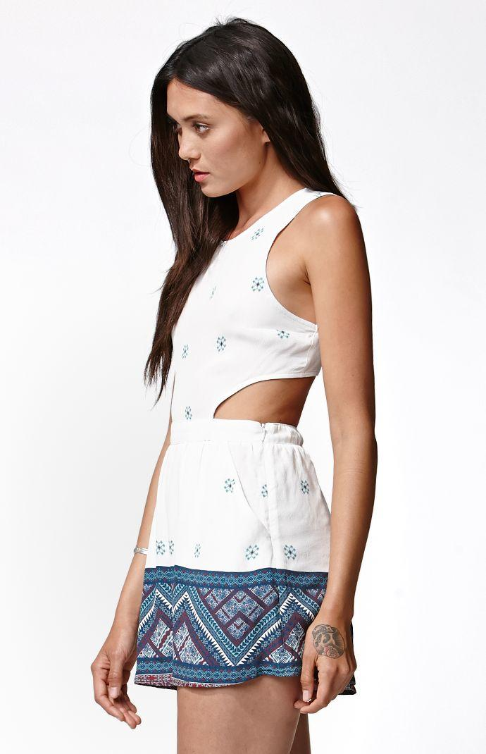 18c35a70702 Kendall   Kylie Cutout Side Tank Romper - Womens Dress - Multi