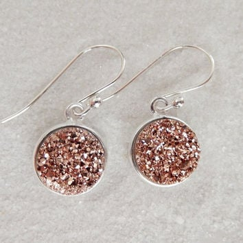 Rose Gold Druzy Earrings Sterling Silver Drusy Copper Quartz Drops - Free Shipping Jewelry