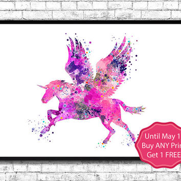 Unicorn 3 Watercolor print Animal Wall decor Children Boy Girl Kids Baby Room Nursery Art Decor Bedroom Pink Unicorn Wall Art Unicorn Poster