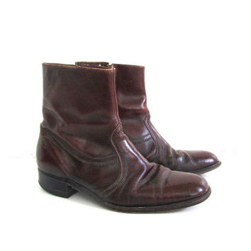 Vintage 60s reddish brown leather ankle Beatle boots with side zippers // men's 8