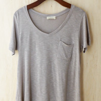 Perfectly Imperfect One-Pocket Shabby Tee, Taupe