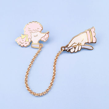 Pink Toy Poodle Lapel Pin